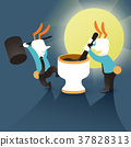 illustration concept of cooperation Mid-autumn festival Jade Rabbit Grinds Medicine 37828313
