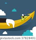flat design illustration concept of up, money up 37828401