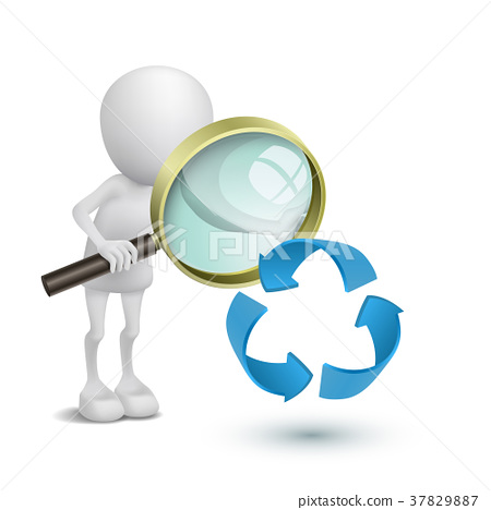 3d person watching the recycling symbol with a magnifying glass 37829887