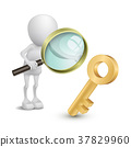 3d person with a big magnifying glass looking at the golden key 37829960