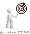 3d person pointing at dart hitting a target 37829985