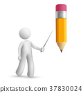 3d person pointing at a pencil 37830024