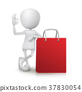 3d man showing okay hand sign with the shopping bag 37830054