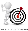 3d man showing okay hand sign with dart hitting a target 37830056