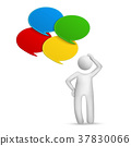 3d man thinking with four speech bubbles 37830066