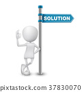 3d man showing okay hand sign with directional sign and word Solution 37830070