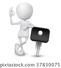 3d man showing okay hand sign with a car key 37830075
