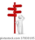 3d man standing in front of a road sign 37830105