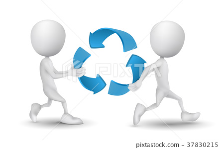two people carried the recycling symbol 37830215