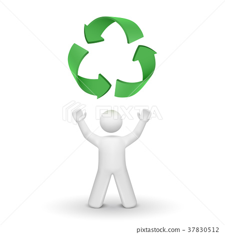 3d person looking up at the recycling symbol 37830512