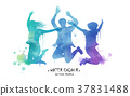 Watercolor jumping silhouette 37831488
