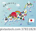 Lovely Japan travel map design 37831828