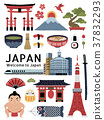 Lovely Japan cultural symbol set 37832293