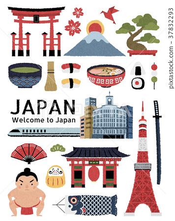 Lovely Japan cultural symbol set 37832293