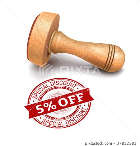 5 percent off round stamp 37832583
