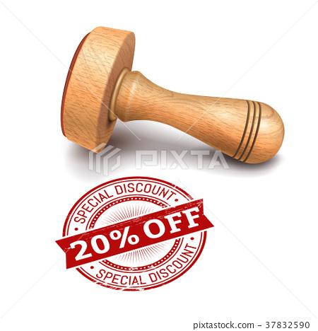 20 percent off round stamp 37832590
