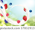 Flowing milk with fruits 37832913
