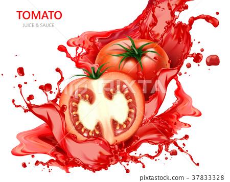 Fresh tomato with juice 37833328