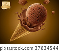 Chocolate ice cream cone 37834544