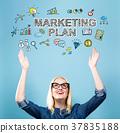 marketing, plan, woman 37835188