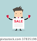 Businessman with sale ad and flyers. 37835196