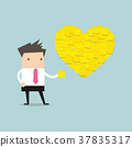Businessman with Heart shape yellow sticky notes. 37835317
