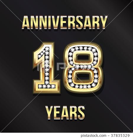 18 Years Anniversary Card Design Illustration 37835329