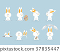 cute rabbit or bunny happy easter set 37835447