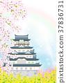 櫻桃開花的春天城堡 37836731