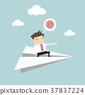 Businessman flying on paper plane and pointing. 37837224