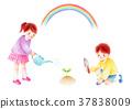 澆水的孩子和彩虹 37838009