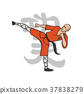 Shaolin monk practicing kung fu. Martial art 37838279