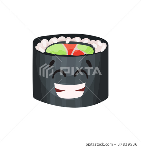 Cute happy roll character, sushi with funny face 37839536