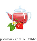 Natural herbal tea in a glass transparent teapot 37839665