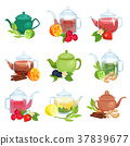 Glass and ceramic teapot set, natural herbal tea 37839677