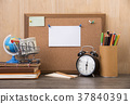 blank paper note on cork board with alarm clock 37840391