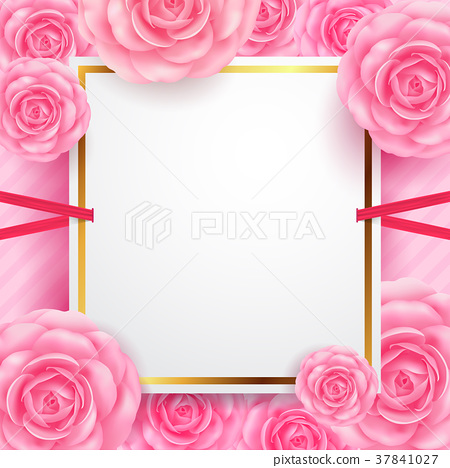 White blank banners with flower for Valentine 37841027