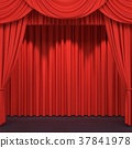 Red stage curtains 3D illustration 37841978