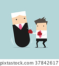 Businessman punching boss tumbler doll. 37842617