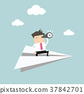 Businessman is flying while using telescope. 37842701