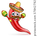 Spicy Red Pepper Mexican Cartoon Mascot 37842792