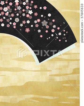 Background material (fan, cherry blossom, gold leaf) to feel sum 37845610
