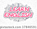 Learn English - Cartoon Magenta Text. Business 37846591