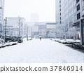 ทิวทัศน์ของหิมะตกหนักโยโกฮาม่ามินาโตะมิราอิ 37846914