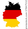 Germany flag in silhouette of the country 37847532