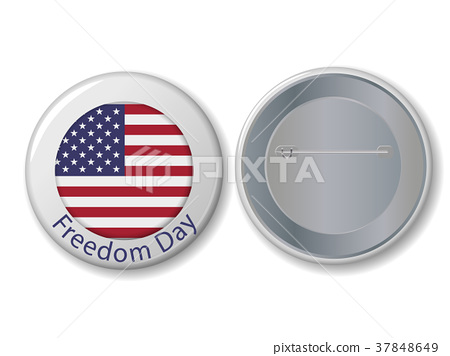 Vector white badge with Freedom Day text. 37848649