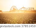 Golden sunset on Santa Monica beach 37851450