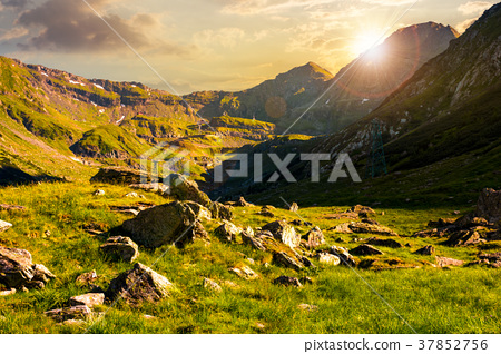 lovely scenery of Transfagarasan valley at sunset 37852756