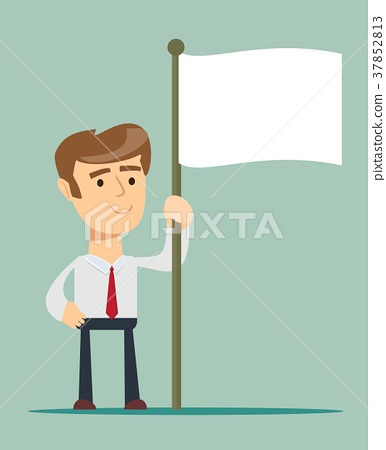 Abstract Businessman waves the white flag of 37852813