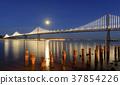 San Francisco-Oakland Bay Bridge with full moon 37854226
